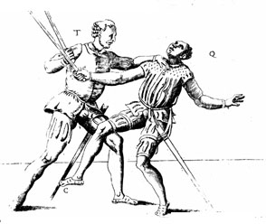 European medieval print showing disarming techniques